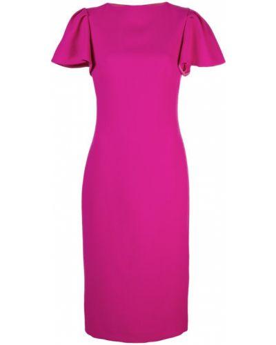 Облегающее розовое платье миди с вырезом Brandon Maxwell
