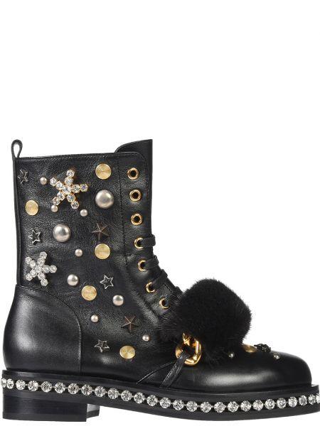 Кожаные ботинки осенние на каблуке Le Silla