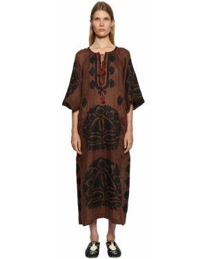 Платье макси с вышивкой с кружевными рукавами Vita Kin