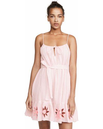 Розовое платье в полоску с вышивкой Sundress
