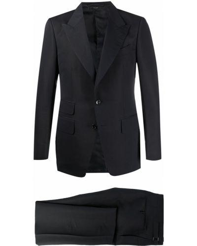 Z rękawami jednorzędowy niebieski garnitur Tom Ford