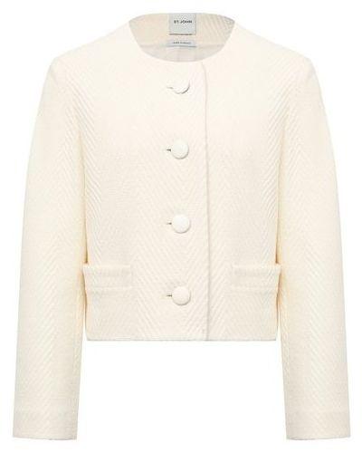 Бежевый шерстяной пиджак с подкладкой для взрослых St. John