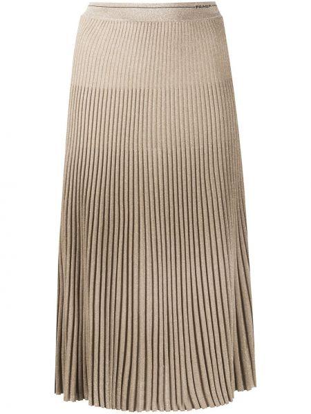 Плиссированная шерстяная с завышенной талией юбка с поясом Prada