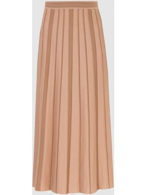 Бежевая шелковая юбка миди Loro Piana