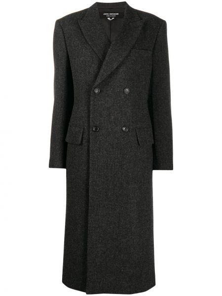 Серое шерстяное пальто классическое двубортное Junya Watanabe
