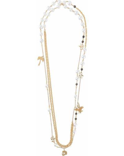 Biały wisiorka ze złota metal z perłami Palm Angels