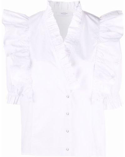 Белая рубашка с коротким рукавом с оборками с вырезом Roseanna