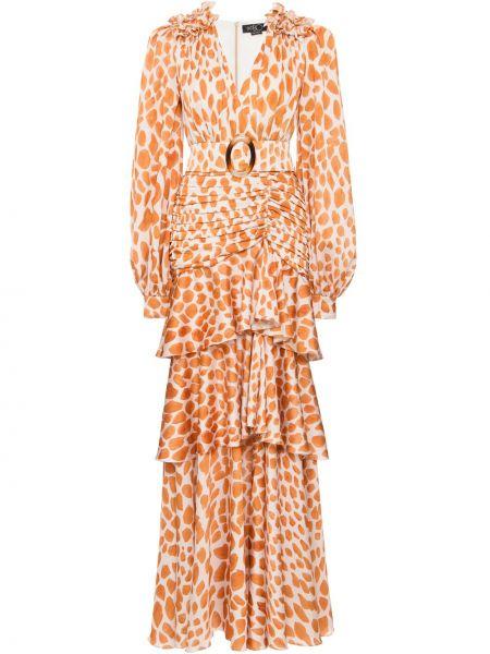 С рукавами шелковое платье макси с V-образным вырезом с драпировкой Patbo