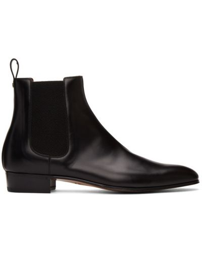 Skórzany czarny buty na wysokości na pięcie z kołnierzem Gucci