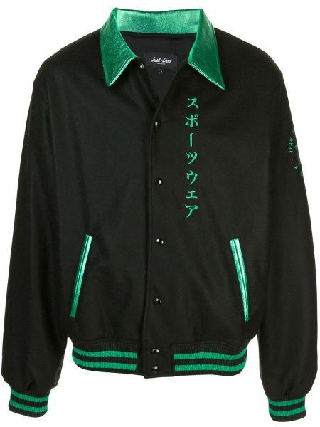 Czarna długa kurtka wełniana z haftem Just Don