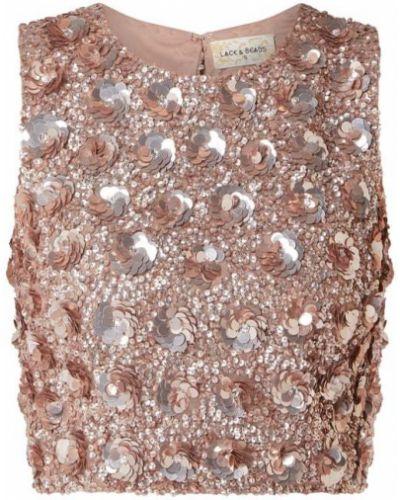 Brązowy top koronkowy z cekinami Lace & Beads