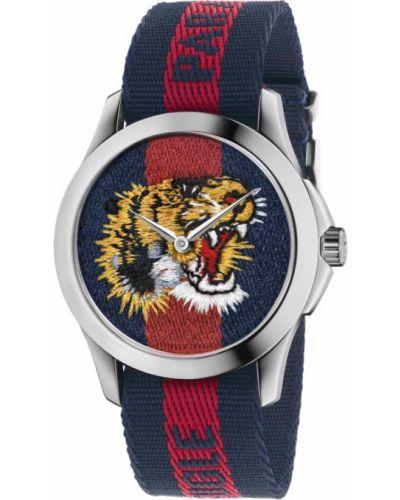 Текстильные с ремешком синие часы водонепроницаемые Gucci