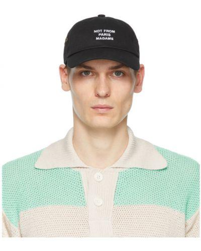 Czarna czapka z haftem bawełniana Drole De Monsieur