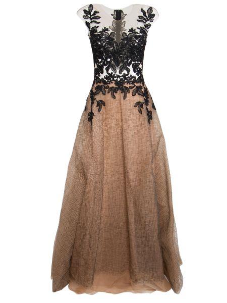 Шелковое вечернее платье на молнии со шлейфом с вырезом Rhea Costa
