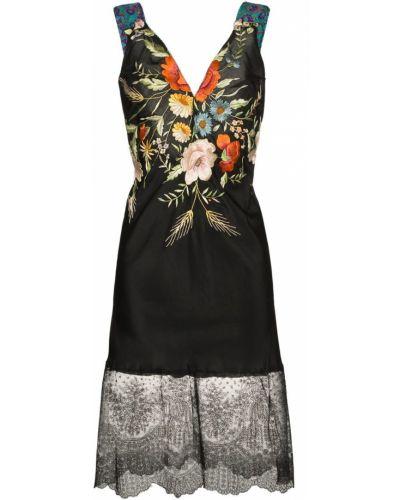 Приталенное ажурное платье с вышивкой винтажное One Vintage