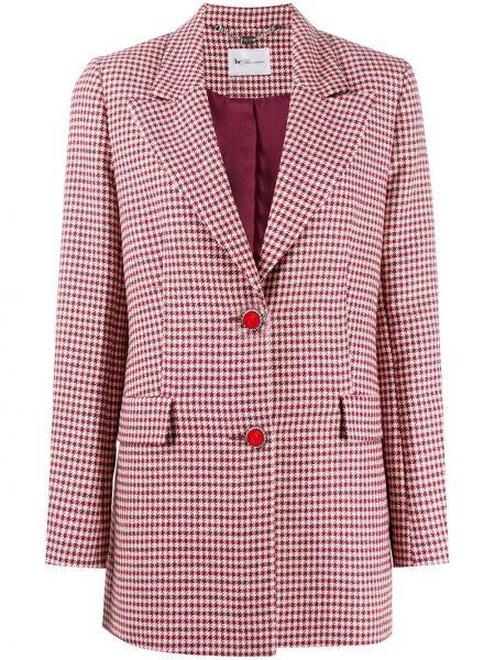 Шерстяной красный удлиненный пиджак в клетку Blumarine
