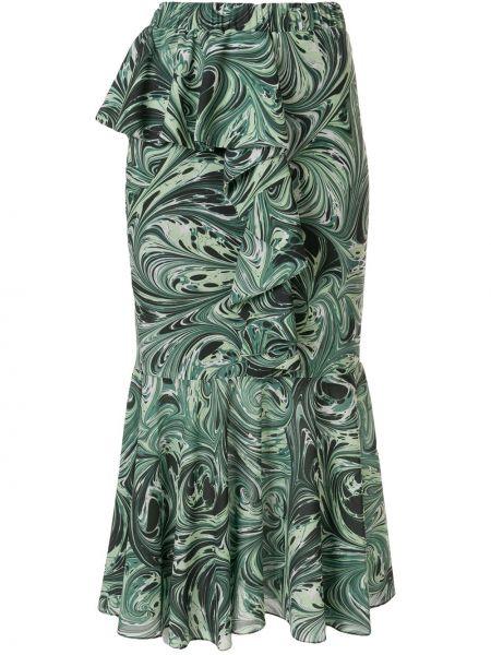 С завышенной талией зеленая юбка миди с оборками Romance Was Born