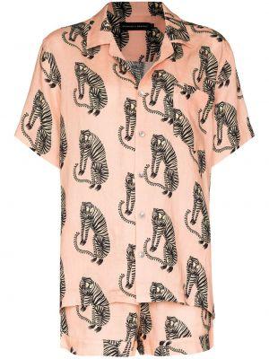 Lniana piżama - różowa Desmond & Dempsey