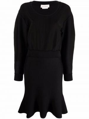 Черное платье макси с длинными рукавами Alexander Mcqueen
