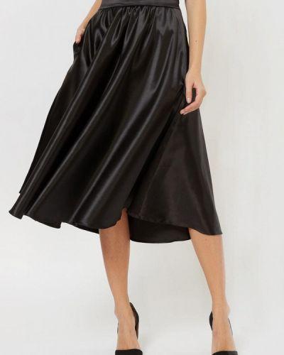 Шелковая черная юбка свободного кроя Silk Me