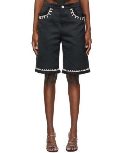 Сатиновые черные шорты с карманами Area