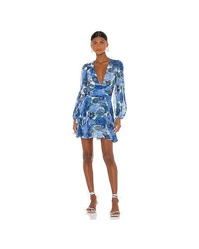 Синее платье мини на пуговицах с подкладкой Loveshackfancy