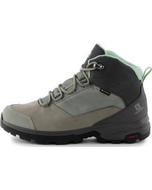 Серые спортивные текстильные ботинки трекинговые на шнуровке Salomon