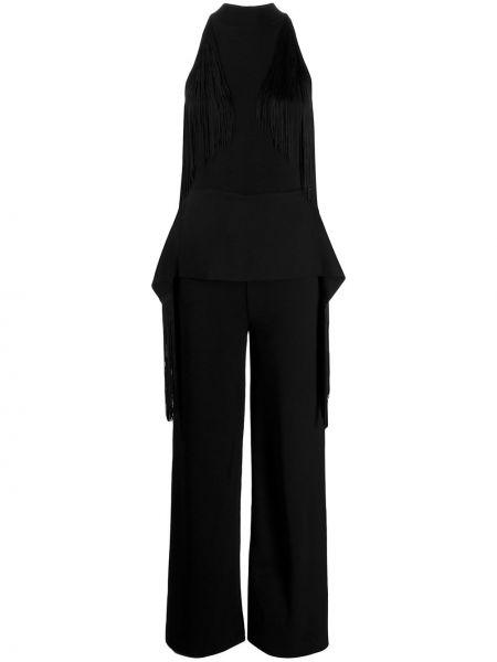 Czarny kombinezon z wiskozy z frędzlami Stella Mccartney