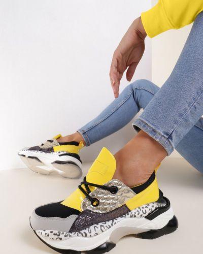 Żółte sneakersy materiałowe Renee