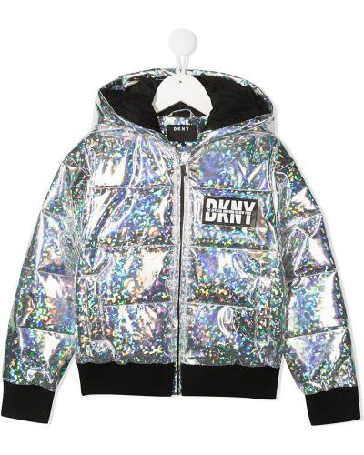 Серебряная водонепроницаемая куртка на молнии Dkny Kids