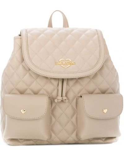 Кожаный рюкзак стеганый с логотипом Love Moschino