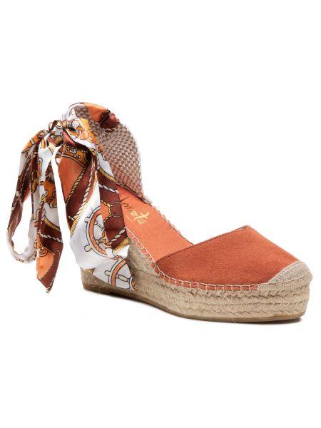 Pomarańczowe sandały zamszowe Vidorreta