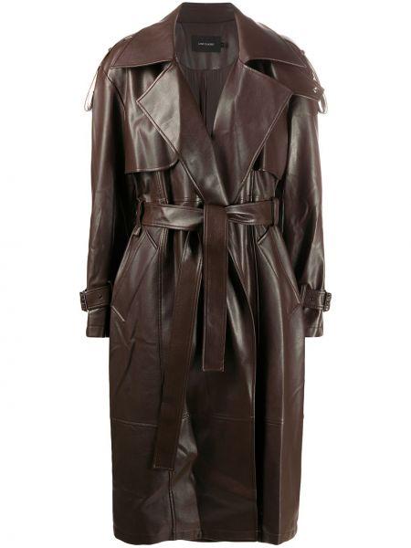 Коричневое кожаное пальто классическое с воротником Low Classic