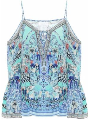 Шелковый топ - синий Camilla
