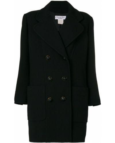 Шерстяное черное длинное пальто с капюшоном Christian Dior Pre-owned