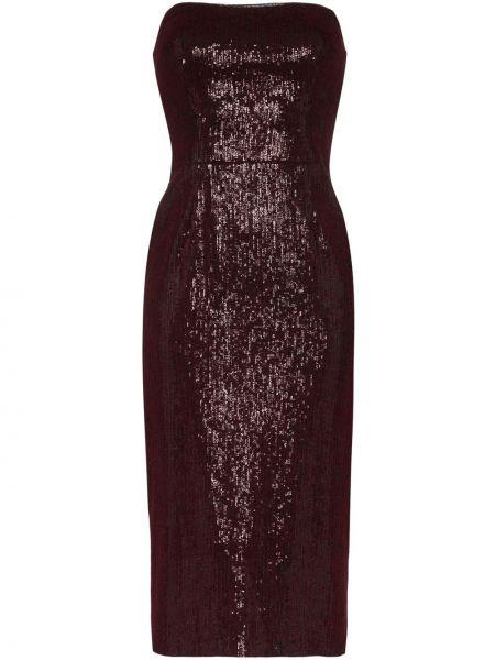 Czerwona sukienka midi z wiskozy Haney
