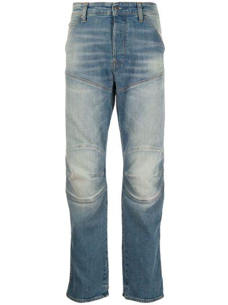 Хлопковые синие прямые джинсы с карманами с жемчугом G-star Raw