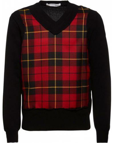 Czarny sweter wełniany z dekoltem w serek Comme Des Garcons Shirt