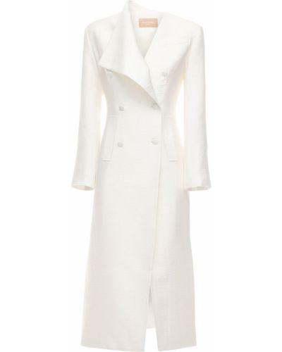 Белое длинное пальто с карманами из вискозы Matériel