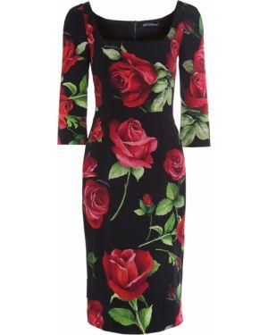 Платье миди футляр с цветочным принтом Dolce & Gabbana
