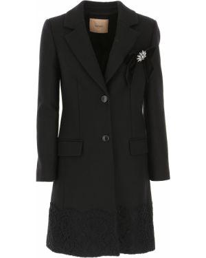 Czarny płaszcz wełniany z długimi rękawami Twin Set By Simona Barberi