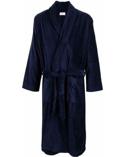 Długi szlafrok bawełniany - niebieski Derek Rose