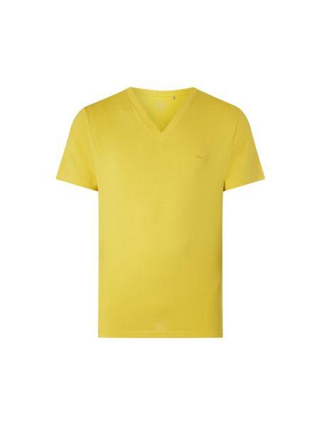 Żółty t-shirt bawełniany z dekoltem w serek S.oliver Plus
