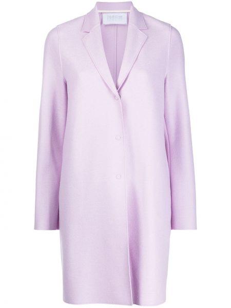 Однобортное фиолетовое шерстяное длинное пальто Harris Wharf London