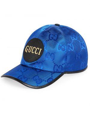 Niebieski kapelusz skórzany z siateczką Gucci