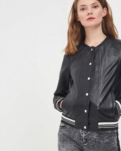 Кожаная куртка весенняя черная Oakwood