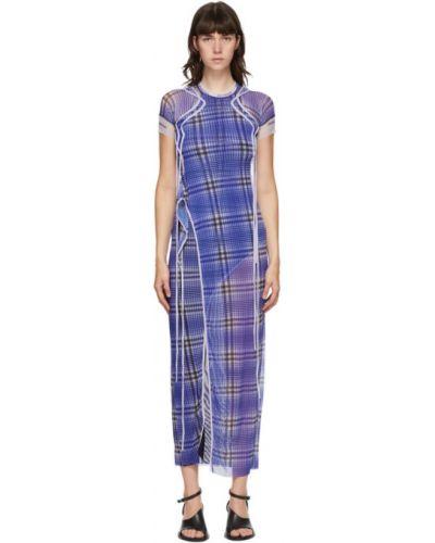 Фиолетовое платье макси сетчатое с воротником с сеткой Ottolinger