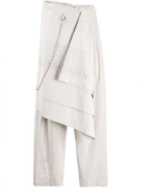 Серые нейлоновые свободные брюки свободного кроя с драпировкой Hyein Seo