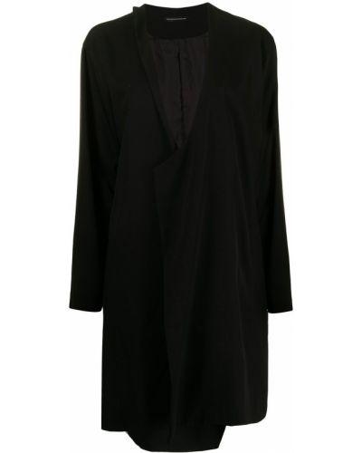Черное шерстяное пальто Y's