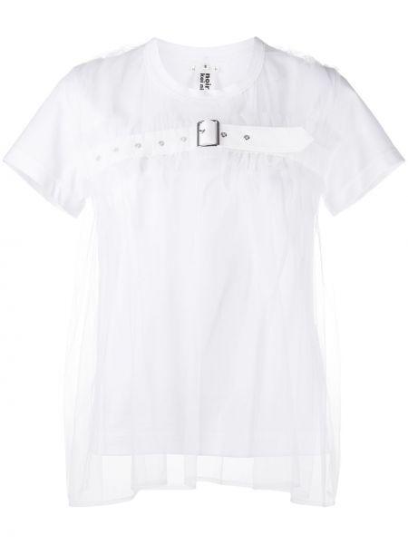 Нейлоновая белая прямая рубашка с коротким рукавом с пряжкой Comme Des Garçons Noir Kei Ninomiya